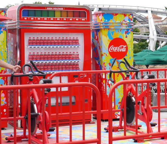 自転車でこぐコーラの自販機