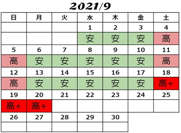 2021年9月USJチケット料金カレンダー