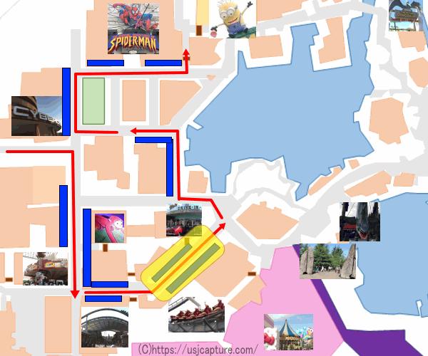 ナイトパレード観賞場所の地図